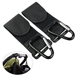 Nuolux Stroller Hook Multi-purpose Hanger Hooks Buggy Stroller Metal Hanging Clip- Pack Of 2 (Black)