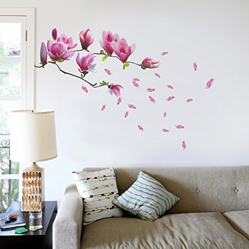 WALPLUS Wall Stickers Huge Magnolia Flowers Removable Self-Adhesive Mural Art Decals Vinyl Home Decoration DIY Living Bedroom Décor Wallpaper Kids Room Gift, Multi-Colour