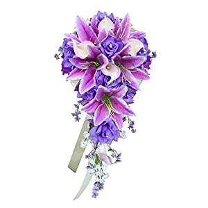 Cascade Wedding Bouquet - Lavender ivory artificial Rose, Lilies with real touch artificial Calla Lily 30