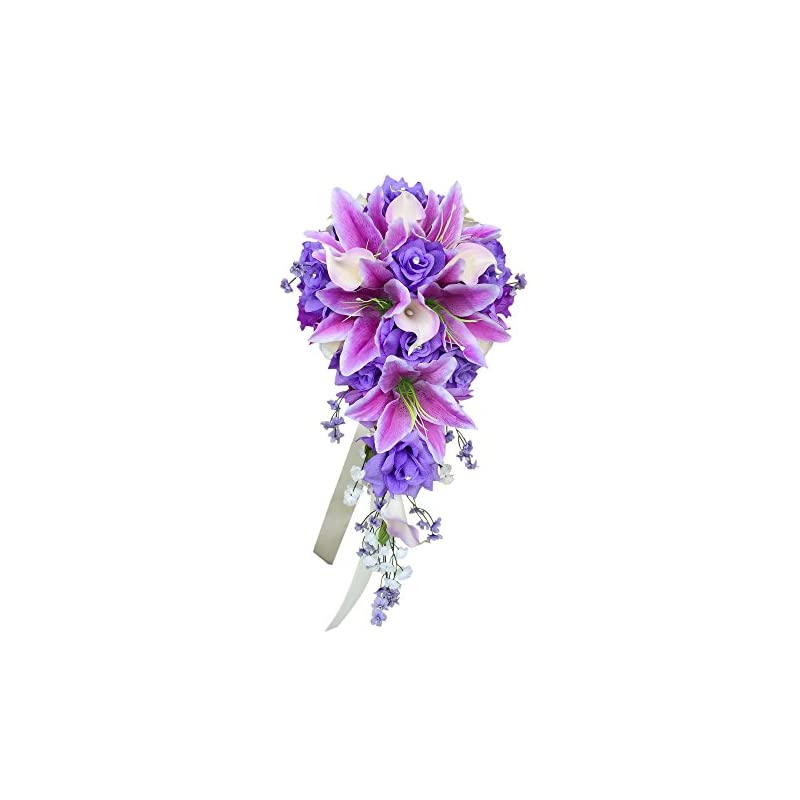 silk flower arrangements angel isabella cascade wedding bouquet - lavender ivory artificial rose, lilies with real touch artificial calla lily