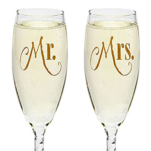 Mr. & Mrs. Silver Champagne Flutes With Gift Box – Wedding Glasses For Bride & Groom – Toasting Gift Sets – For Couples…