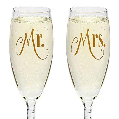 Mr mrs silver wedding champagne flute glasses for Bride kitchen queen set