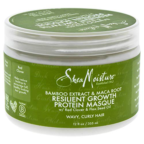 Shea Moisture Bamboo Extract & Maca Root Resilient Growth Protein Masque for Unisex, 12 Ounce