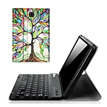 Fintie Samsung Galaxy Tab E 8.0 Keyboard Case - Slim Light Weight Standing Smart Cover with Magnetically Detachable Wireless Bluetooth Keyboard for Tab E 8.0 Inch SM-T377 4G LTE Tablet, Love Tree