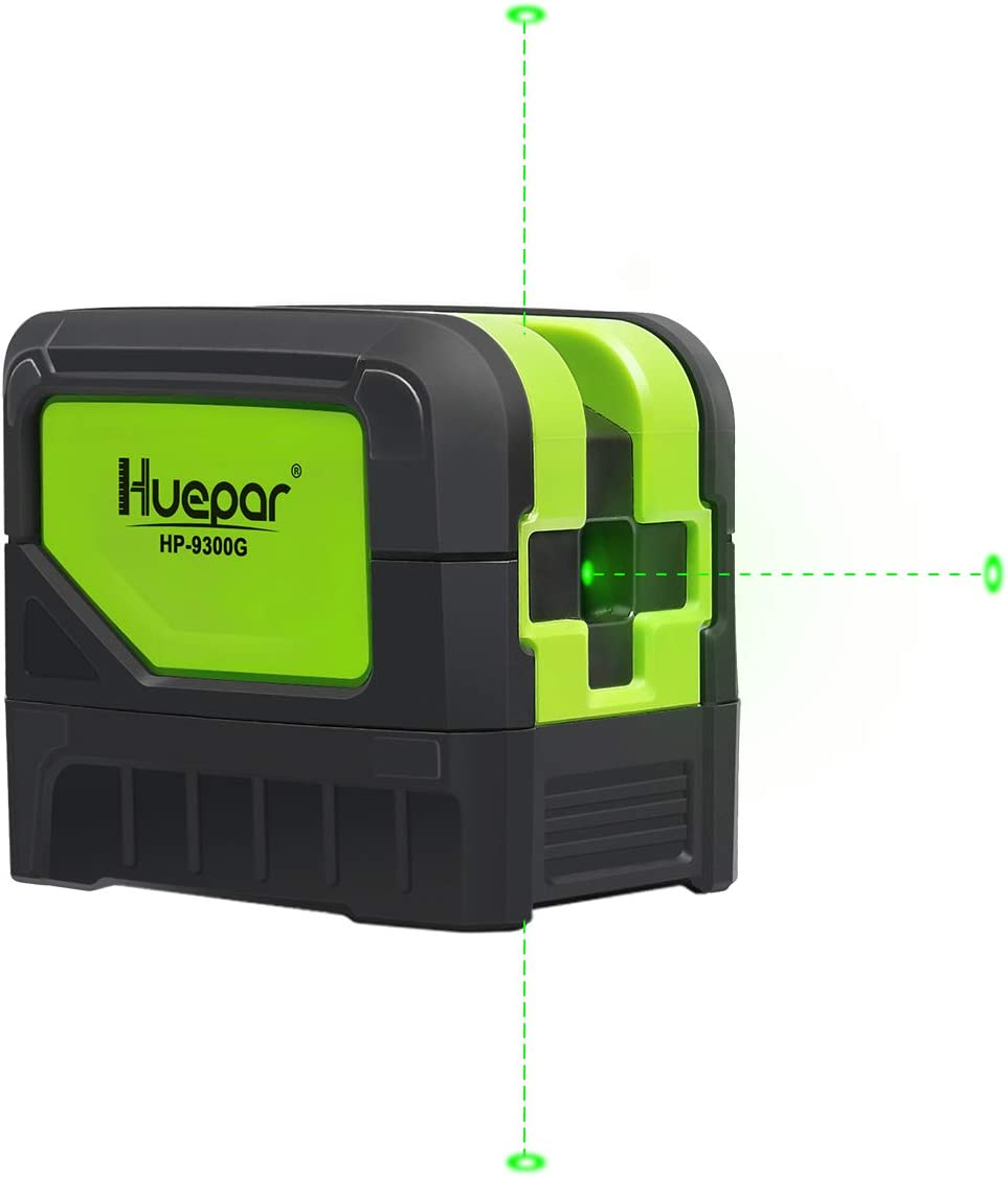Huepar 3 - Point Laser, Self-leveling Green Beam Laser Level with Plumb Spots for Soldering and Points Reference Positioning, 197ft Working Range, Floor Stand and Magnetic Bracket Included- 9300G