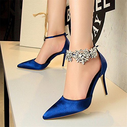 z&dw Tacones finos con punta de aguja de Satén con sandalias Azul