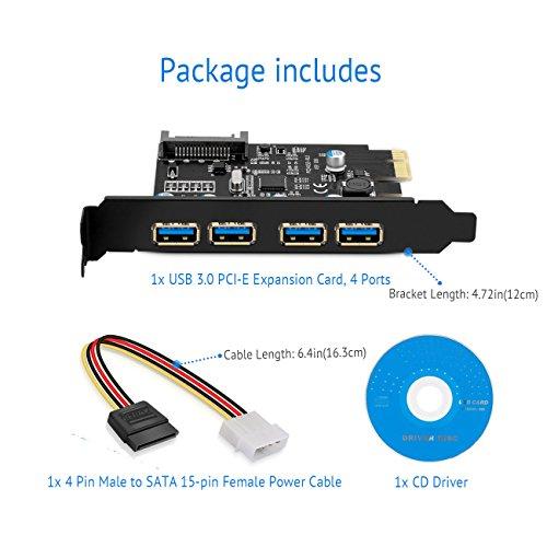 SupaHub PCI-E to USB 3.0 4-Port PCI Express Expansion Card, Windows XP, Vista, 7, 8, 10, Includes Driver and SATA 15-Pin Power Connector,2018 Version by SupaHub (Image #7)