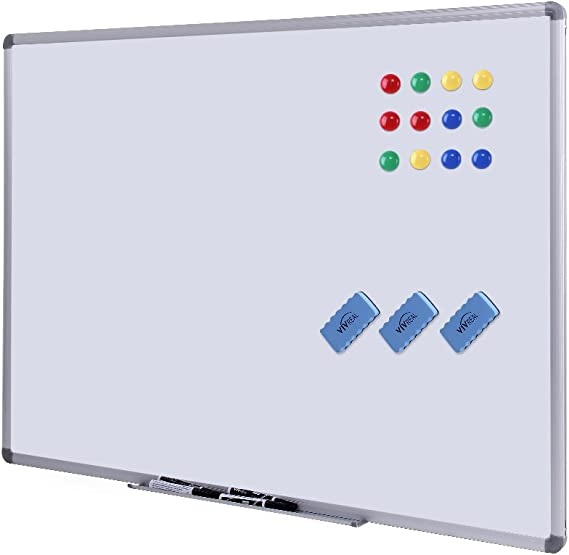 Dry Erase Board 48 X 36 Magnetic Dry Erase Board With Aluminum Frame Wall Size White Board Vivreal Dry Erase Board With 3 Erasers And 12 Magnets Amazon Co Uk Office Products