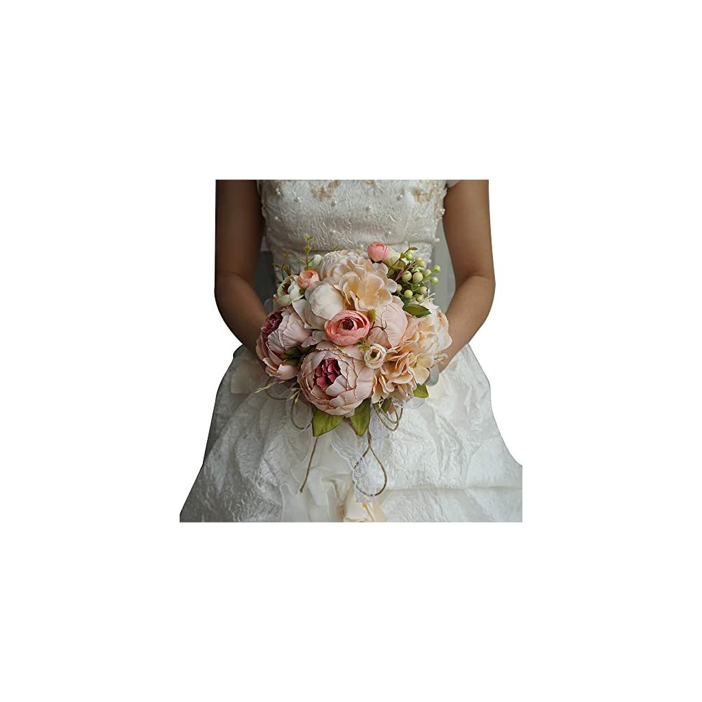 Wedding Bride Bouquet Wedding Holding Bouquet Artificial Peony and Rose Flowers Natural Jute Twine for Wedding Engagement Valentine's Day and Church Satin Bride Bouquets 25cm X 30cm (Pink Bouquet)