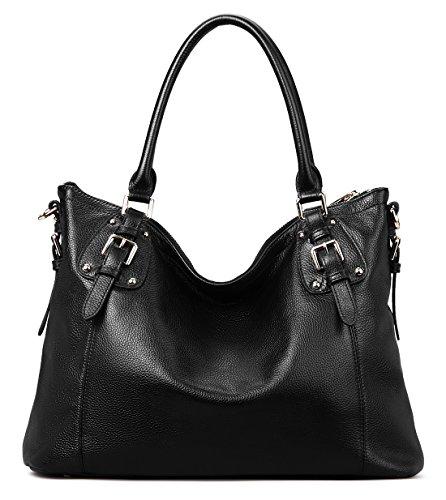 Coolcy Vintage Real Leather Handbags for Women Tote Shoulder Bag (Black)