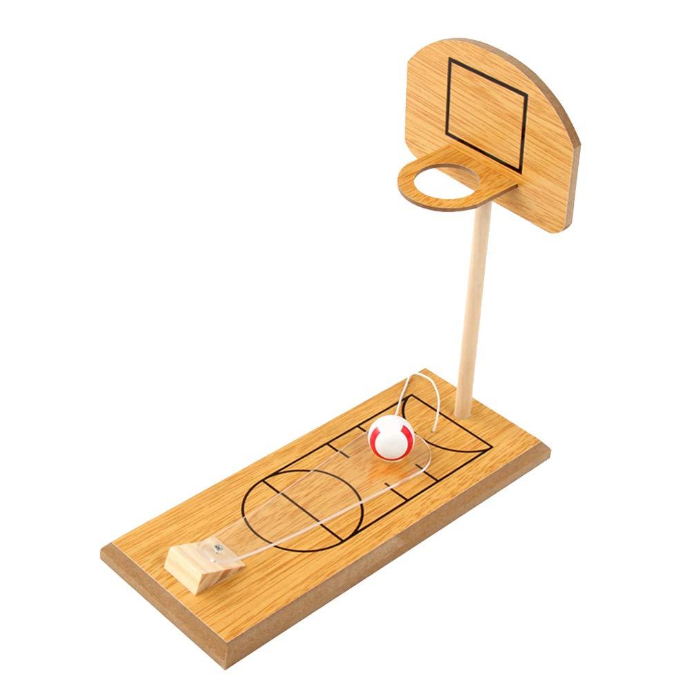 Toyvian Children Desktop Basketball Set Racks Stand Wood Training Shot Lifting Frame for Indoor Outdoor