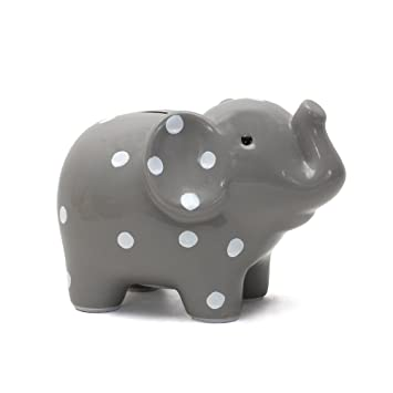 Blue Child to Cherish Ceramic Polka Dot Elephant Piggy Bank for Boys