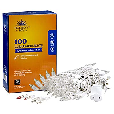 Holiday Joy - Clear White Mini String Lights on White Wire for Christmas Tree Lights - Indoor/Outdoor (100 Lights)
