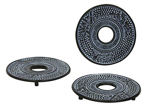 Hues & Brews 3 Piece Cast Iron Trivet Set, Sky (Blue Cast Iron Trivet)