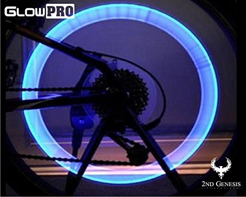 GlowPRO Bike Tire LED Valve Stem Caps Light - Dazzling Neon Colors are Best Night Safety Reflective Gear. Brilliant Illumination Gives High Visibility for Motorcycles, Cyclists and Child Safety (Blue)