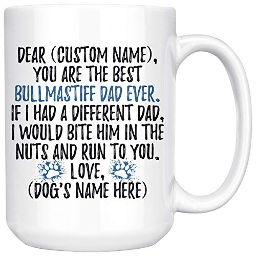 Bullmastiff Mug - Personalized Bullmastiff Dog Dad Mug, Bullmastiff Men Gifts, Bull Mastiff Dog Daddy Mug, Bullmastiff Dog Owner Gift, I Love Bullmastiff (15 oz)