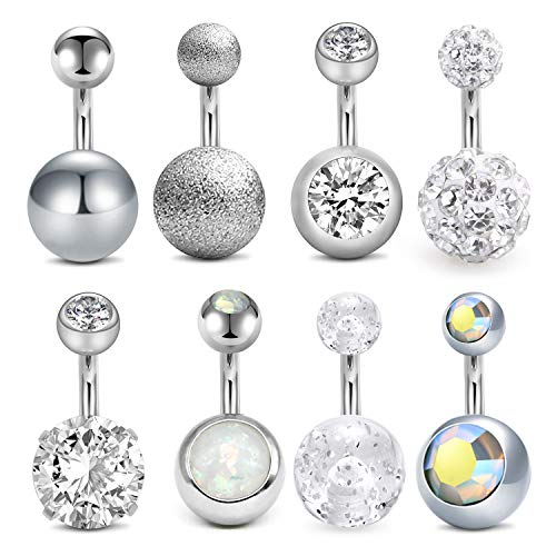 Barbell Style Belly Ring - Incaton Belly Button Rings 8pcs Mix Style Surgical Steel Belly Rings Cubic Zirconia Navel Barbell Piercing Jewelry 1/4