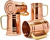 Coppertisan Tankard Large Moscow Mule Copper Mugs, 20 oz - Set of 4 - Handmade of 100% Pure Copper, Brass Handle