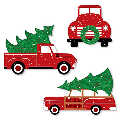 Big Dot of Happiness Merry Little Christmas Tree - Shaped Red Truck and Car Christmas Party Cut-Outs - 24 Count