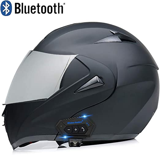 MAMAO Full Face Flip up Dual Visors Modular Motorcross Helmets,Bluetooth Integrated Motorcycle Helmets,Built-in Speaker Headset Microphone for Automatic Answering DOT Certification
