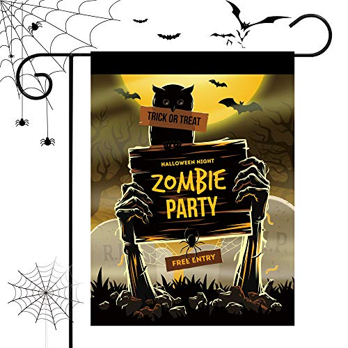 Happy Halloween Home Garden Flag House Double Faced Zombie Party 28''x40'' Inches Festive Decoration.]()