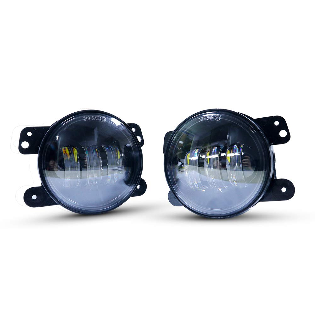4 Inch LED Fog Lights - 4WDKING White CREE LED Chip Round Fog Lamp Compatible with 2007-2018 Wrangler Unlimited JK Front Bumper Lights Driving Off Road Fog Light (Pair)