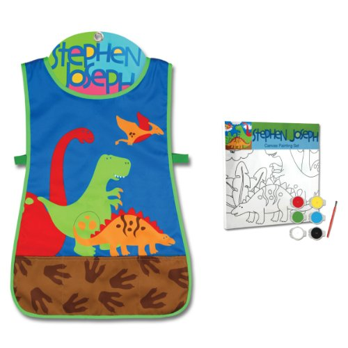 Stephen Joseph Dinosaur Craft Apron and Dinosaur Canvas Paint Set