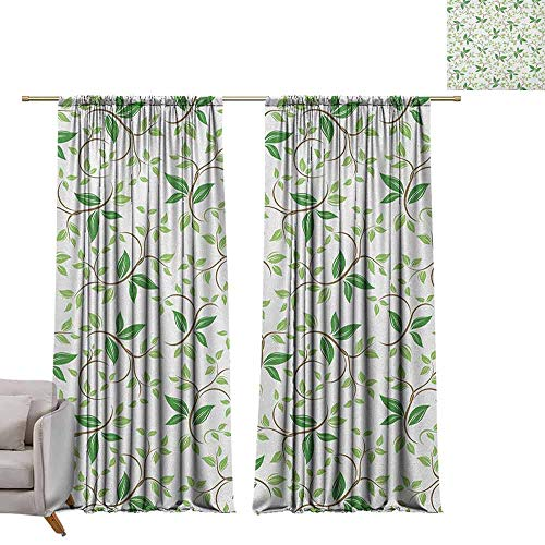 berrly Decorative Curtains for Living Room Leaf,Ivy Patterns with Tiny Fancy Green Leaves Branches Creme Contemporary Illustration, Green Brown W84 x L84 Customized Curtains - Light Bath Bracket Creme