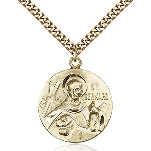 Gold Filled St. Bernard of Clairvaux Pendant 1 x 7/8 inches with Heavy Curb Chain by Bonyak Jewelry Saint Medal Collection