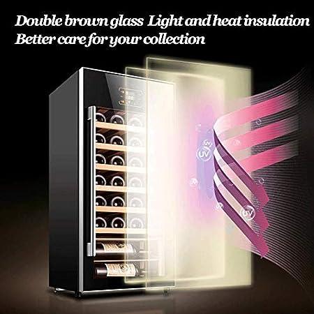 YFGQBCP Hogar Wine Cooler Electronic Termostato, 32 Botellas Vino Blanco Independiente Red/Enfriador/refrigerador, 8-18 ° C/Funcionamiento silencioso Nevera/Touch de Control de Temperatura