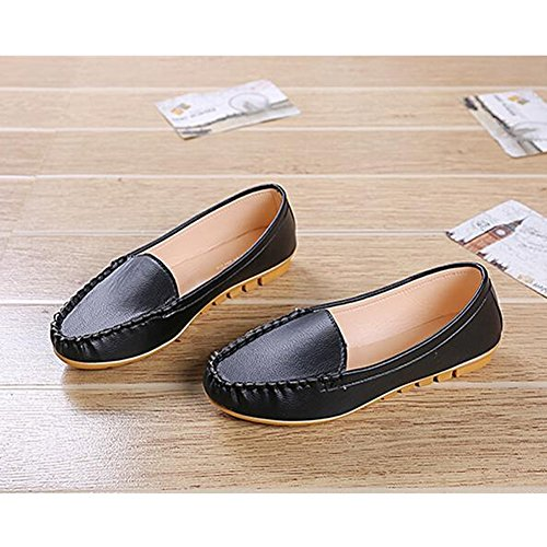 Angelliu Women Casual Soft Leather Ballets Flats Spring Autumn Slip-on Comfy Work Shoes Black by Angelliu (Image #2)
