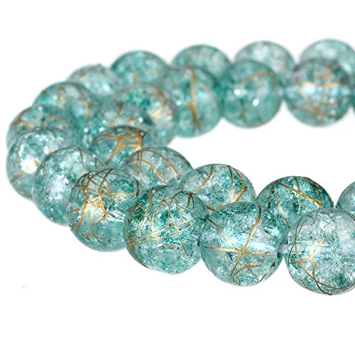 RUBYCA Round Crackle Druk Czech Crystal Pressed Glass Beads for Jewelry Making 4mm Strand (Blue) (Set Furniture Murano)