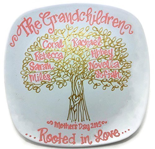 Hand Painted - Personalized Grandchildren Family Tree Plate Grandmother Mother's Day Gift