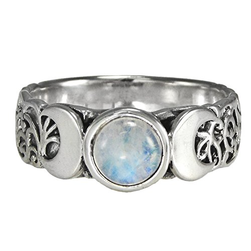 Sterling Silver Triple Crescent Moon Goddess Ring with Rainbow Moonstone