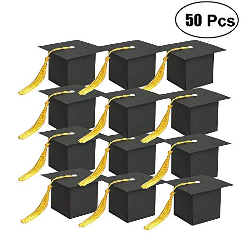 BeAhity 50 Pcs Graduation Cap Party Favors Boxes Black Kraft Paper Party Candy Boxes with Tassel for Shcool Graduation Theme -