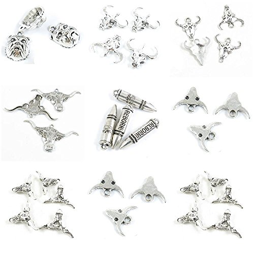 (34 Pieces Antique Silver Tone Jewelry Making Charms Ox Bull Head Skull Tau Minotaur Reborn Bullet Cow Buffalo Pug Dog English)