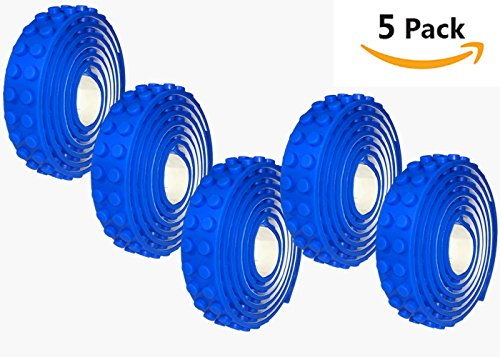 Blue Building Block Lego Tape by nDream – (5 Pack Single Color) Classic, Duplo, MEGA BLOKS Compatible, Brick Baseplate Supplement, Sticky Adhesive, 5 Pack Set, 3.3 FT / Roll