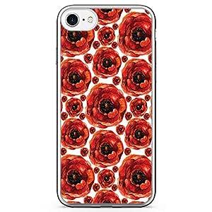 iPhone 8 Transparent Edge Phone case Elegant Rose Phone Case Rose Pattern iPhone 8 Cover with Transparent Bumper