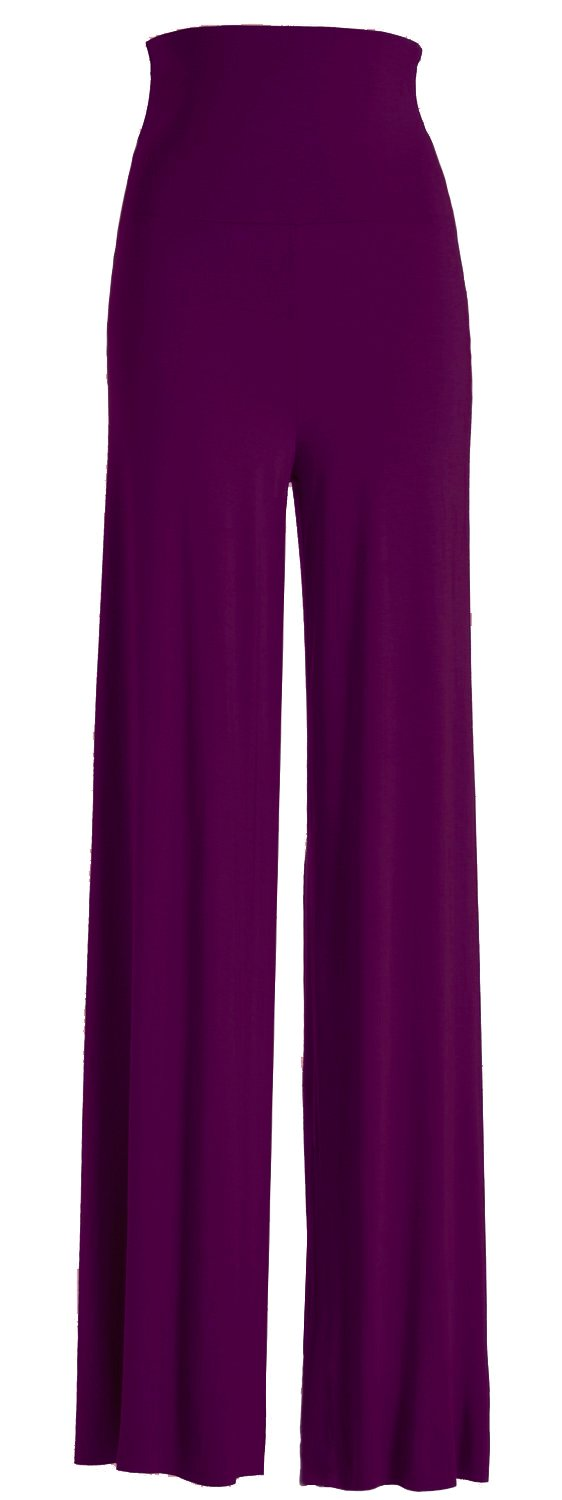 VIV Collection Women's Solid Wide Leg Palazzo Boho Gaucho Pants (XX-Large, Purple)