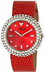 TKO ORLOGI Women's TK618RD Leather Red Crystal Slap Watch