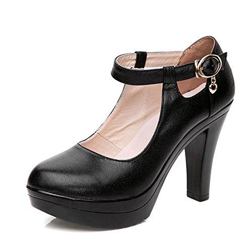 KALENDS Ladies Genuine Leather Plus Size Buckle High Heels Work Shoes Pumps (UK 6=CN 40=Foot Length:25cm, Black)