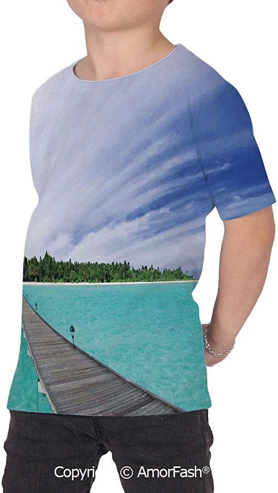 Art Girl Regular-Fit Short-Sleeve Shirt,Personality Pattern,View from a Deck at