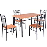 Tangkula Steel Frame Dining Set Table and Chairs Kitchen Modern Furniture Bistro Wood