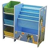 Liberty House Toys TF5007 Safari Book Display with Storage and 3 Fabric Bins
