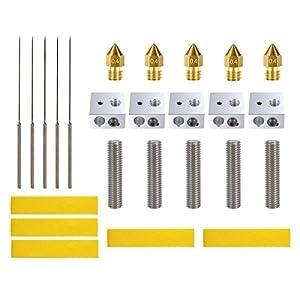 3D Printer Accessories Kit - 3D Printer Parts Include 5pcs Brass Extruder Nozzle, 5PCS Drill Bits, 5pcs 30mm Extruder M6 Tube, 5pcs Aluminum Heater Block, 5pcs Heating Block Cotton by Fntek