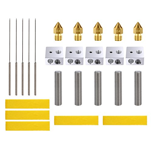 3D Printer Accessories Kit - 3D Printer Parts Include 5pcs Brass Extruder Nozzle, 5PCS Drill Bits, 5pcs 30mm Extruder M6 Tube, 5pcs Aluminum Heater Block, 5pcs Heating Block Cotton by Fntek
