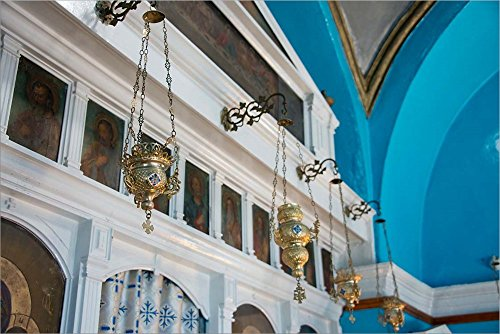 Greece, Cyclades, Mykonos, Hora Wall Icons and Oil Lamps of a Church by Cindy Miller Hopkins/Danita Delimont Laminated Art Print, 45 x 30 - Cindy Lamp