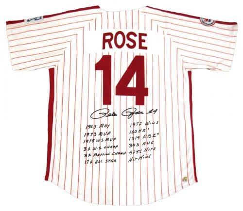 (Pete Rose Signed Philadelphia Phillies Stat Jersey