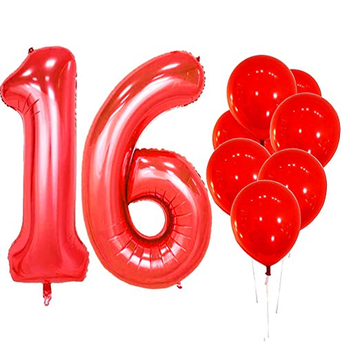 IN-JOOYAA 40 in Big Number 16 Mylar Balloons Red Sweet Sixteen Jumbo Foil Number Balloon for Sweet 16 Birthday Party Anniversary Celebrate Party -