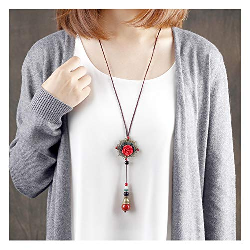 URUHR Long Sweater Chain Necklace Hand Carved Red Rose Flower Pendant Agate Beads Tassel Fashion Jewelry for Women Girls-92